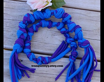 Dog Chew Toy Set, Up cycle , Recycle , Blue and Purple Jersey Knit Small -Med Doggie Chew Toy, Handmade By: Tranquilityy