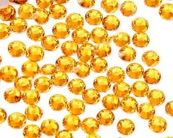 3mm 1000 pieces Round Flat Black 14 facet cut Rhinestones  ----  Gold