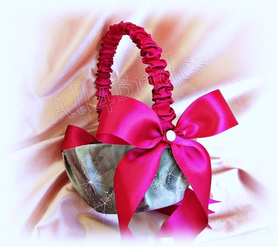 Wedding flower girl basket in fuchsia pink and grey sparkly like this item mightylinksfo Images