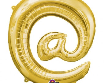 Sign @ AT Symbol Balloon Gold Foil Self Sealing Party Decoration