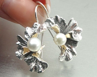 New Israel Handmade flower Design 9K Yellow Gold & 925 Sterling Silver pearl Woman earrings (s e 2345A)