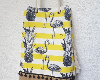 flamingo and pineapple tote bag, large beach bag, striped bag, canvas tropical bag, jute beach bag, flamingo pattern shoulder bag,  carryall