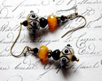 Lampwork Glass Earrings - Black, White and Yellow Lampwork Glass Earrings - Dangle Earrings