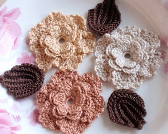 3 Crochet  Flowers With Leaves YH - 197-01