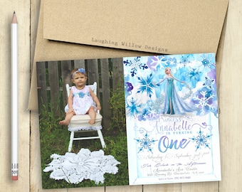 Frozen Invitation with Photo Elsa Invitation First Birthday Invitation Frozen Theme Frozen Party Personalized Photo Flowers Snowflakes