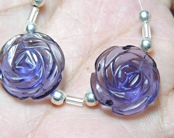 2 Pcs Very Attractive purple Amethyst Quartz Hand Carved Flower Shaped Beads Size 18X18 MM