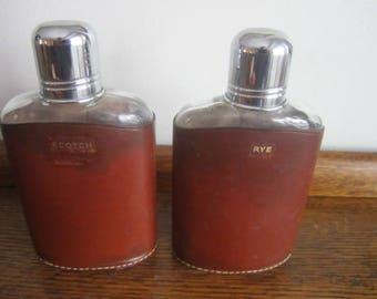 Pair of Vintage Made in England Saddle Leather Hip Flasks. RYE SCOTCH.  Hunter / Sportsman / Camper / Dad's gift