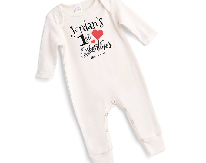Personalized My First Valentine's Baby Romper, Custom Newborn Boy 1st Valentines Bodysuit, Infant Boy Valentines Onesie Baby Girl  Tesababe