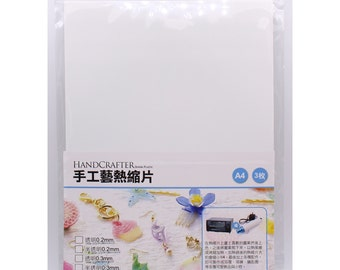 HandCrafter Shrink Plastic 0.3mm White A4 , 3 Sheets Per Package Jewelry Shrink Plastic, Mixed Media Shrink Plastic