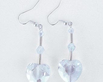 Clear Crystal Heart Earrings, Swarovski Heart Earrings, Crystal Heart Bridal Earrings, Dangle Heart Earrings, Bridesmaid Crystal Earrings,