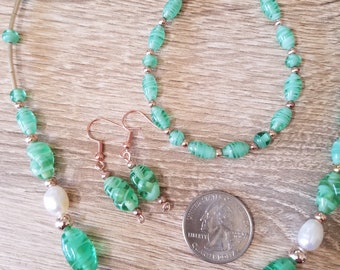 Vintage style swirl green glass bead, freshwater pearl and rose gold necklace, bracelet and earrings