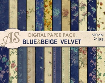 Digital Vintage Floral Velvet Paper Pack, 24 printable Digital Scrapbooking papers, Fabric Digital Collage, Instant Download, set 56