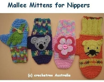 Mallee Mittens for Nippers - (crochet patterns)