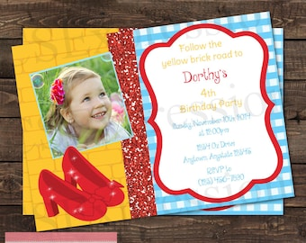 Rubby Red Slippers Photo Birthday Party Invitation
