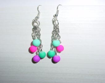 Dangle earrings neon glass beads