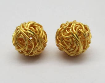 2 Pieces Gold Plated Beads 925 Sterling Silver Wire Wrapped Nest Beads 11mm Round