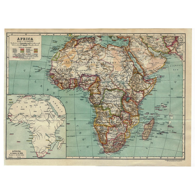 Africa Instant Download Pre-World War I Antique Map 1910