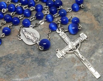 Glass Cat's Eye Rosary in Cobalt Blue, 5 Decade Rosary, Miraculous Medal Center with Papal Coat of Arms, Catholic Rosary