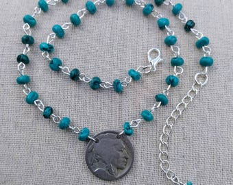 Indian Head Coin Necklace - Native American Beaded Necklace - Turquoise Bead Necklace - Coin Necklace - Native American Jewelry - Gift