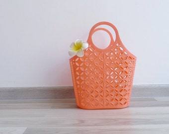 Vintage 80's Kitschy Peachy Coral Plastic Jelly Shopping Basket Bag