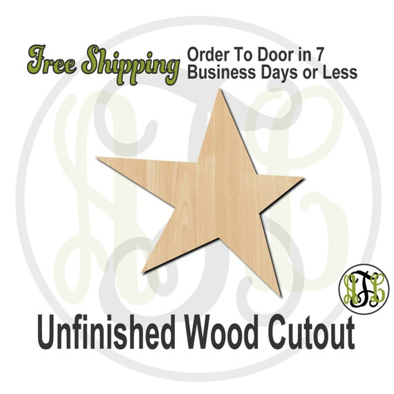 "Star- 1"" to 6"" Minis- 70008- Small Wood Cutout, unfinished, wood cutout, wood craft, laser cut shape, wood cut out, ornament"