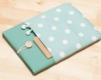 12 inch macbook case / macbook 11 cover / Laptop sleeve, Laptop case,  padded with pockets  - Dots in sage
