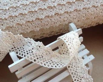 Lace cotton Ecru, 2.5 cm sold per meter, 100% cotton beige lace Ribbon 25mm cotton lace
