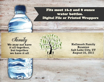Family Reunion Water Bottle Labels, Reunion Water Bottle Wrappers, Family Birthday Party Favors, Family Reunion Favors, Family Reunion