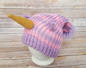 Pink Purple Unicorn Hat, Unicorn Hat, Knitted Unicorn Hat, Knit Unicorn Hat, Unicorn Slouchy, Unicorn Lover Hat, Cosplay Unicorn Hat