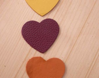 set of 3 hearts #7 leather