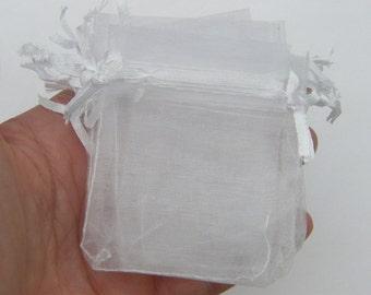 BULK 100 Organza bags 7 x 5cm white - tiny