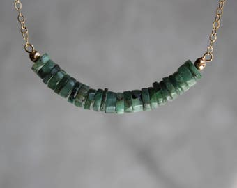 Emerald Necklace, Raw Emerald Necklace, Gemstone Bar Necklace, Emerald Choker, May Birthstone