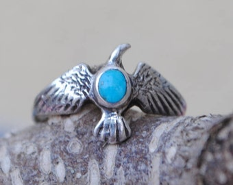 Eagle silver ring native american turquoise, vintage eagle ring, vintage silver ring, sterling silver eagle ring, turquoise eagle