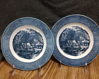 """Vintage Currier and Ives """"The Old Grist Mill"""" Dinner Plates, Royal China, Kitchen Decor,"""