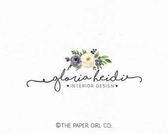 interior design logo wedding logo florist logo floral logo flower logo event planner logo beauty logo watercolor logo make up logo