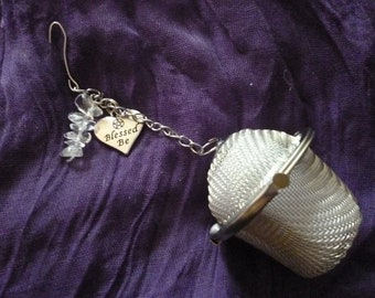 Tea Strainer - mesh infuser - crstal infuser  blessed be Pagan Witch theme clear quartz