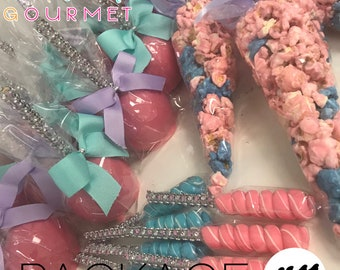 Candy Popcorn Cone Bags, Candy Apples, & Bling Lollipop Party Favor Package