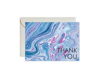 THANK YOU Indigo + Fuchsia Marble Notecards + Envelopes Pack | Boxed Set (8) | Abstract | Modern | Coastal