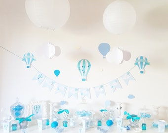 Set decoration for birthday-baby shower themed hot air balloon-clouds - for candy bar personalized
