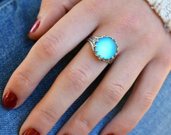 Aqua Mermaid Ring, Frosted Glass Ring