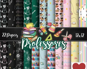 Professores Kit Digital Digital Paper Teacher Chalkboard Blackboard elements
