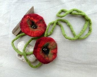 Felt necklace, felt jewelry poppies