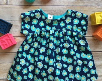 18m Girl's Top - Turquoise Flowers