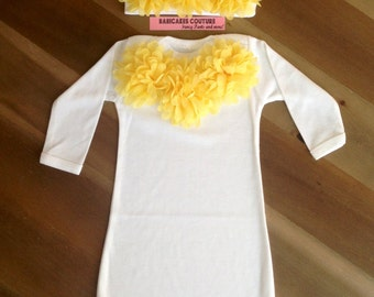 Newborn Girl Take Home Outfit, Yellow Baby Outfit, Yellow Layette, Coming Home Outfit, Baby Girl Clothes, Yellow Baby Gown Cute Baby Clothes