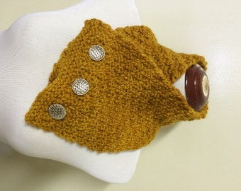 Knitted cowl in Manos del Uruguay kettle dyed multi-colored yellow