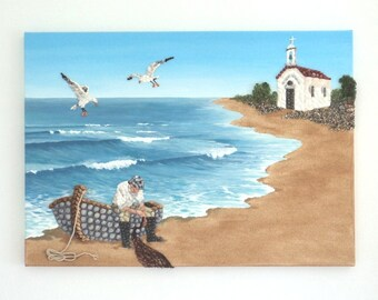 Acrylic Painting, Beach Artwork with Seashells and Sand, Fisherman & Boat, Seashell Mosaic on Sand, Mosaic Art, 3D Art Collage, Wall Decor