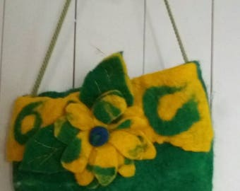 Yellow daisy wet felted Pocket bag.