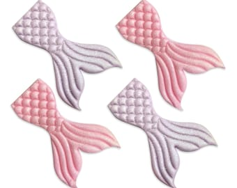 Free UK Shipping Edible Sugarcraft Mermaid Tails, Pack of 4 in Lilac & Pink