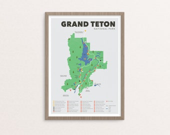 Grand Teton National Park Map, Grand Teton, Outdoors print, Explorer Wall Print