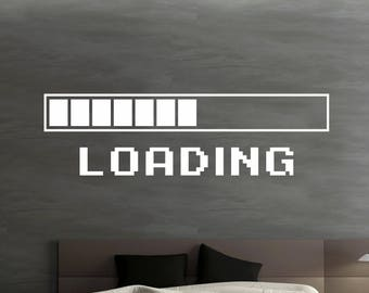 Game Room Home Decor Computer Loading Video Game Loading Wall Decal Wall Quote Wall Mural Gamer Sign Sticker Playroom Decor - GS33